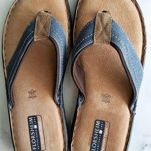 Leather blue flip flops sandals Florsheim mens 10